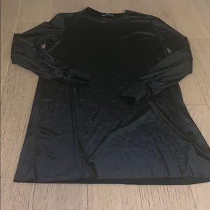 Zara black velvet long sleeve mini dress